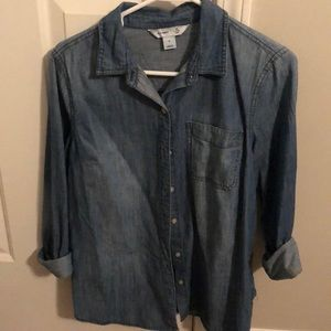 Chambray dark-wash shirt